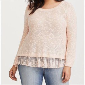 Torrid Blush Tulip Back with Lace Sweater Size 3
